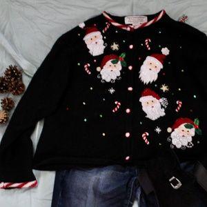 Vintage Tiara International Santa Cardigan